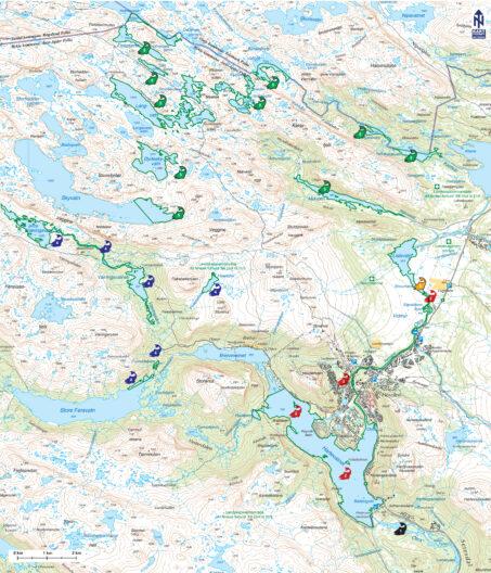 Kart over Hovden med avmerket fiskevann